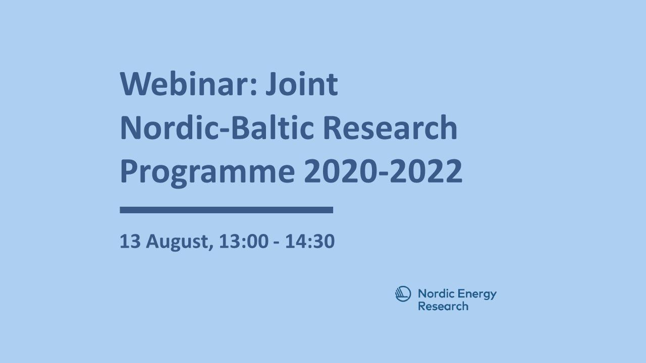 Norrdic-Baltic Research Programme webinar banner